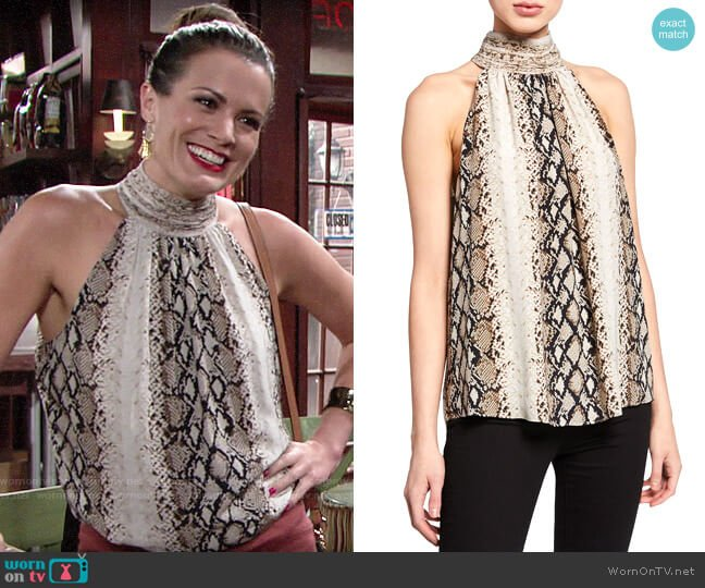 Joie Erola Snake Print Top worn by Chelsea Lawson (Melissa Claire Egan) on The Young & the Restless