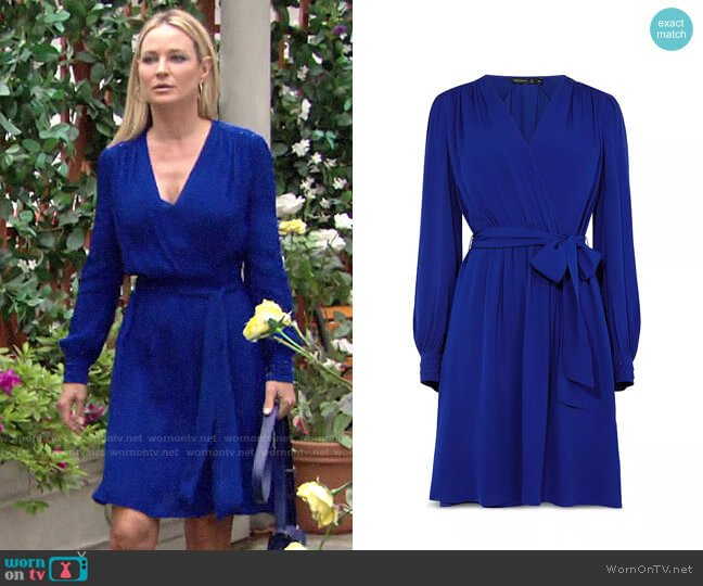 Karen Millen Pintuck Faux-Wrap Dress worn by Sharon Collins (Sharon Case) on The Young & the Restless