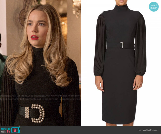 Karen Millen Pleated Drama Sleeve Dress worn by Ainsley Howard (Rebecca Rittenhouse) on Four Weddings & a Funeral