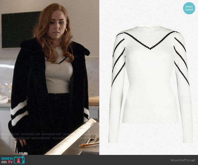 Karen Millen Striped Faux-Fur Coat worn by Zara (Sophia La Porta) on Four Weddings & a Funeral