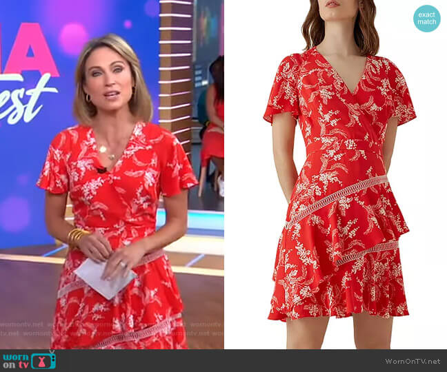 Ruffled Floral Fit-and-Flare Dress by Karen Millen worn by Amy Robach  on Good Morning America