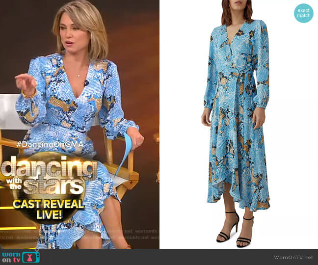 Snake Print Wrap Dress by Karen Millen worn by Amy Robach  on Good Morning America