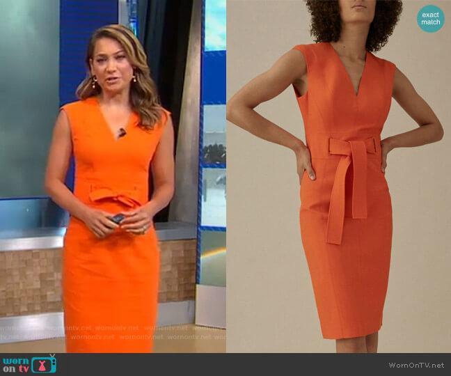 Tie Waist Pencil Dress by Karen Millen worn by Ginger Zee  on Good Morning America