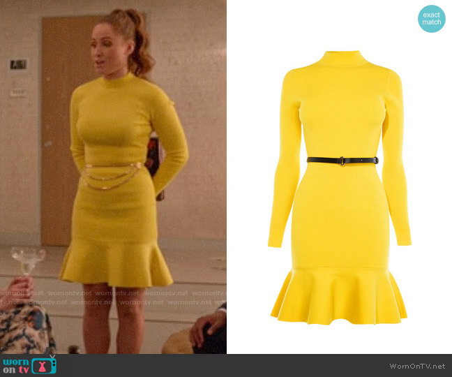 Karen Millen Peplum Knit Belted Dress worn by Zara (Sophia La Porta) on Four Weddings & a Funeral