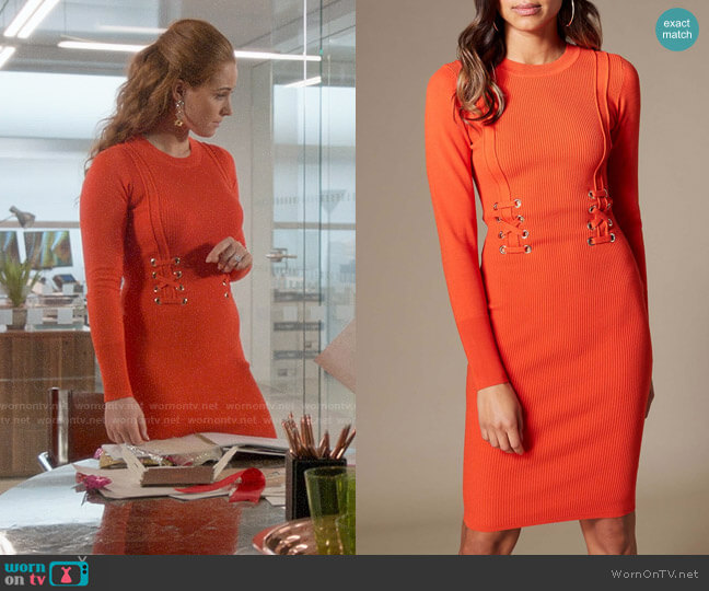 Karen Millen Corset-Effect Knit Dress worn by Zara (Sophia La Porta) on Four Weddings & a Funeral