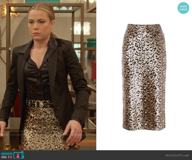 Karen Millen Sequin Leopard Midi Skirt worn by Ainsley Howard (Rebecca Rittenhouse) on Four Weddings & a Funeral
