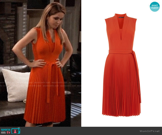 Karen Millen Shawl Collar Pleated Dress worn by Olivia Falconeri (Lisa Lo Cicero) on General Hospital