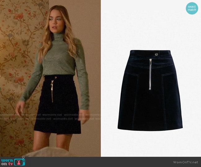 Karen Millen Zip Detail Velvet Skirt worn by Ainsley Howard (Rebecca Rittenhouse) on Four Weddings & a Funeral