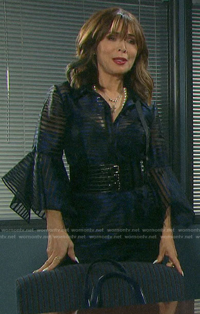 Kate's black and blue sheer striped flared sleeve dress on Days of our Lives