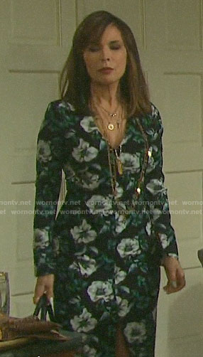 Kate's floral long sleeved sheath dress on Days of our Lives
