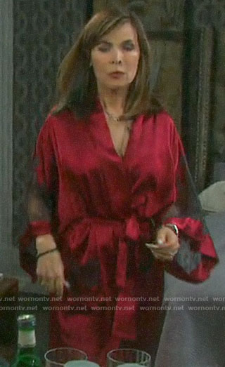 Kate's red lace inset robe on Days of our Lives
