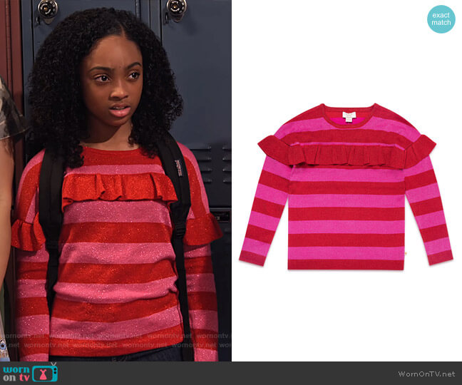 Ruffle-Trim Metallic Stripe Sweater by Kate Spade worn by Tamika (Sanai Victoria) on No Good Nick