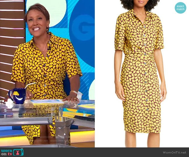 Sunny Bloom Shirtdress by Kate Spade worn by Robin Roberts  on Good Morning America