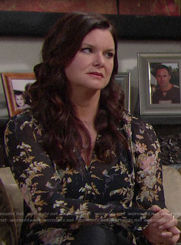 Katie's black floral blouse on The Bold and the Beautiful