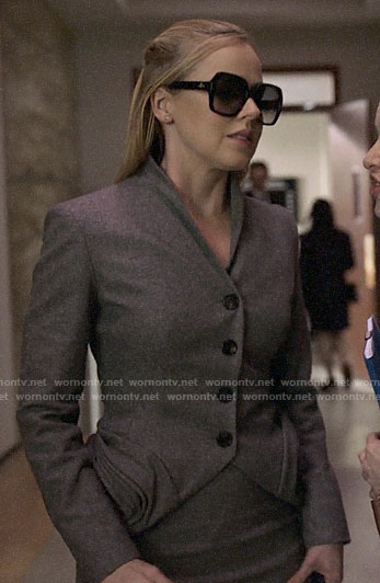 Katrina's grey folded detail jacket and sunglasses on Suits