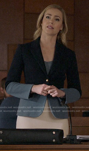Katrina's blue two-tone blazer on Suits