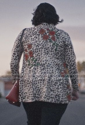 Kat's leopard and rose jacket on Euphoria