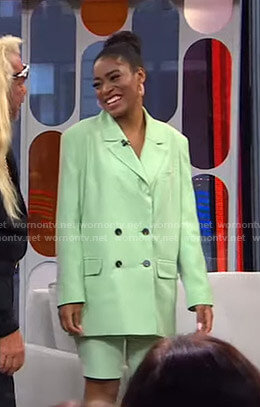 Keke's mint green suit on GMA Strahan Sara And Keke