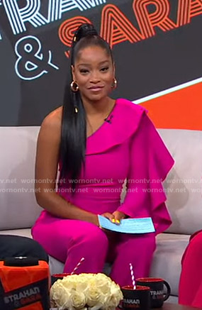 Keke's pink ruffled one-shoulder jumpsuit on GMA Strahan And Sara
