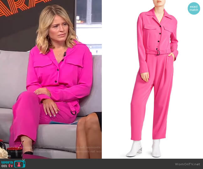 Belted Crepe Jumpsuit by Kenzo worn by Sara Haines  on Good Morning America