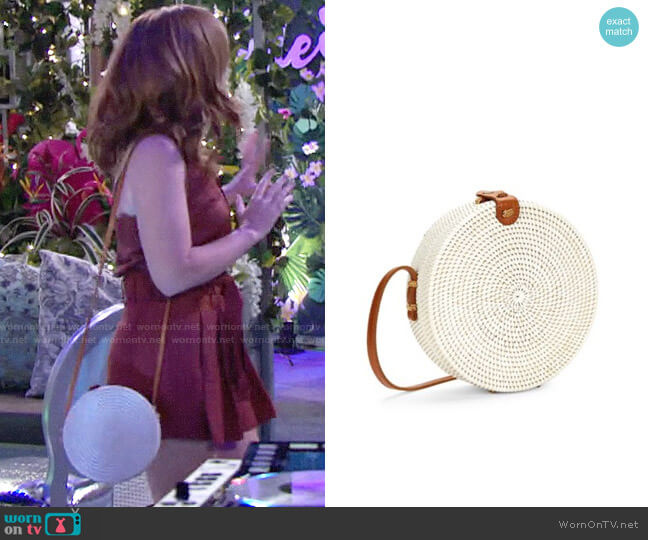 Koret Straw & Leather Circle Bag worn by Mariah Copeland (Camryn Grimes) on The Young & the Restless