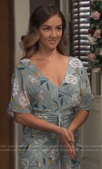 Kristina's green floral ruched front dress on General Hospital