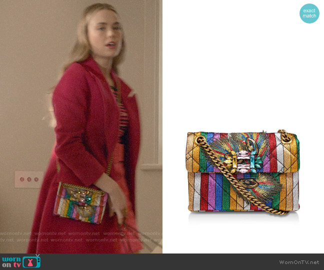 Kurt Geiger Fabric Mini Mayfair X Rainbow Embellished Shoulder Bag worn by Ainsley Howard (Rebecca Rittenhouse) on Four Weddings & a Funeral
