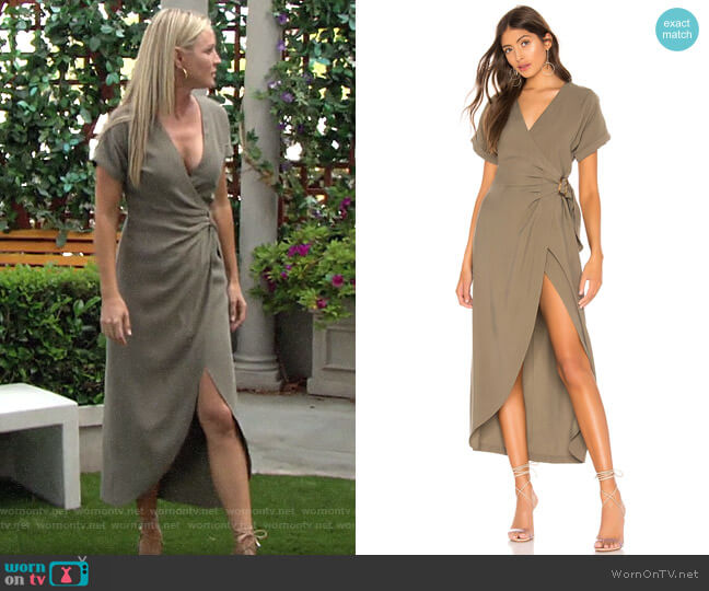 L'Academie The Jennifer Midi Dress worn by Sharon Collins (Sharon Case) on The Young & the Restless