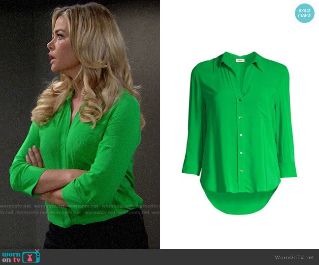 L'Agence Ryan Blouse in Gloss Green worn by Shauna Fulton (Denise Richards) on The Bold & the Beautiful