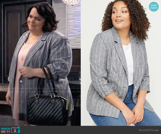 Lane Bryant Striped Bryant Blazer worn by Chelsea Lam (Jen Ray) on General Hospital