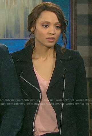 Lani's black moto jacket on Days of our Lives