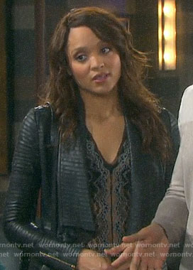Lani's black lace top and leather jacket on Days of our Lives