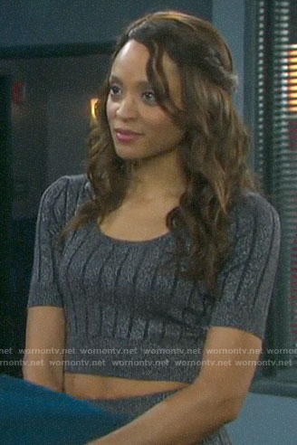 Lani's metallic knit crop top and skirt set on Days of our Lives