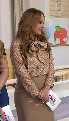 Leah Remini's printed tie neck blouse and pencil skirt on Today