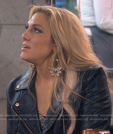 Gina's black leather jacket on The Real Housewives of Orange County
