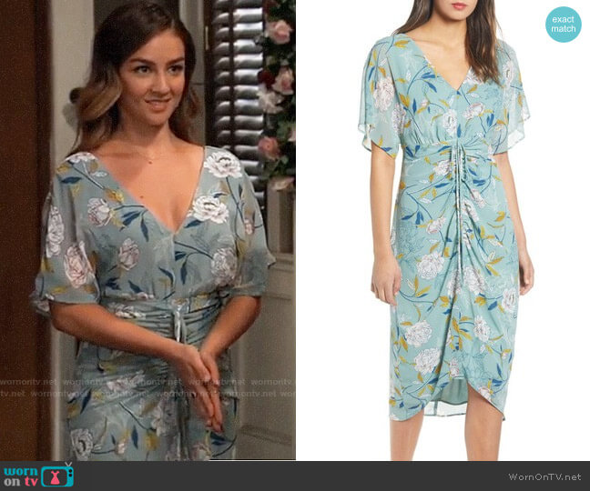 Leith Floral Ruched Midi Dress worn by Kristina Corinthos (Lexi Ainsworth) on General Hospital