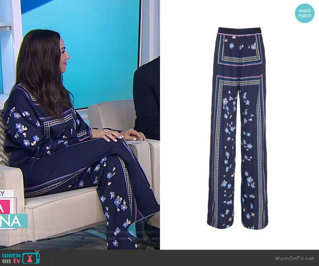Printed Satin Wide-Leg Pants by Lela Rose worn by Whitney Cummings on Today
