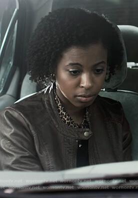 Olivia black striped wrap coat on 13 Reasons Why