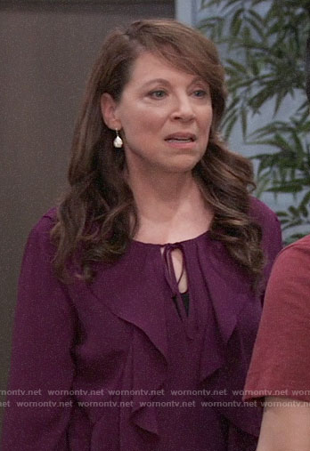 Liesl's purple ruffled blouse on General Hospital