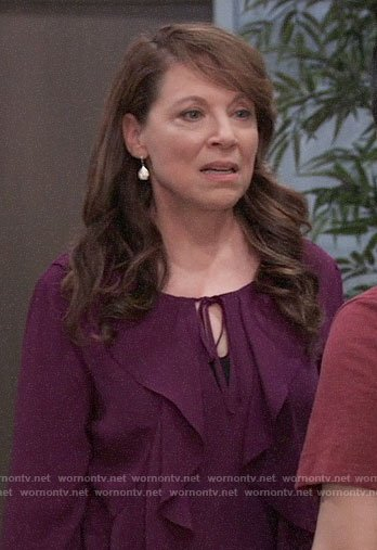 Liesl's purple ruffled blouse on General Hospital