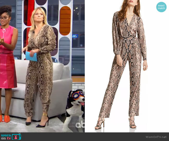 Stella Snake Print Jumpsuit by Lini worn by Sara Haines  on Good Morning America