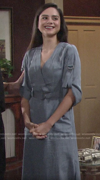 Lola's blue ring detail dress on The Young and the Restless