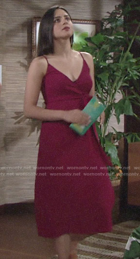 Lola's red wrap dress on The Young and the Restless