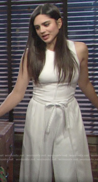 Lola's white tie-waist jumpsuit on The Young and the Restless