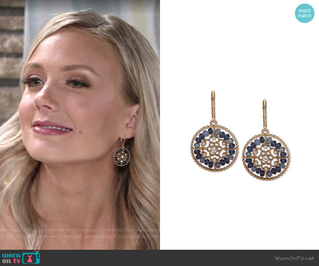 lonna & lilly Gold-Tone Crystal & Bead Openwork Drop Earrings worn by Abby Newman (Melissa Ordway) on The Young & the Restless