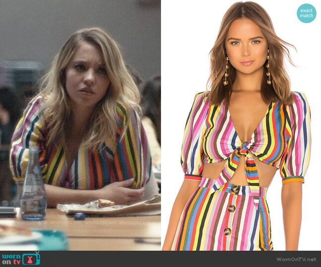 LPA Striped Tie Front Top worn by Cassie Howard (Sydney Sweeney) on Euphoria