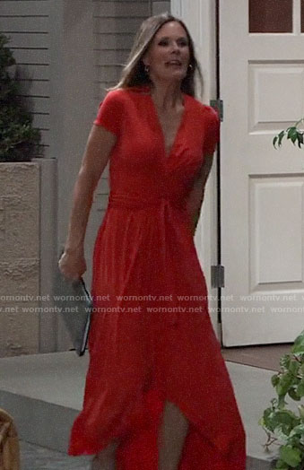 Lucy's red midi wrap dress on General Hospital