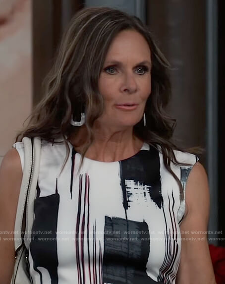 Lucy's abstract print sheath dress on General Hospital