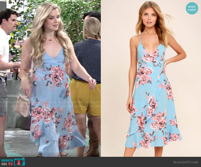 Lulus My Finest Flower Periwinkle Blue Floral Print Wrap Dress worn by Zoe Hardisty (Anna Grace Barlow) on The Young & the Restless