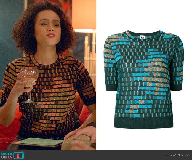 M Missoni Check Knit Top worn by Maya (Nathalie Emmanuel) on Four Weddings & a Funeral